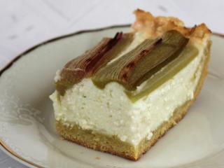 Curd cheese desert with rhubarb