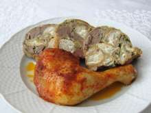Roasted Chicken Legs with Bun Stuffing