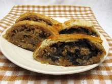 Apple and walnut strudel and poppy seed apple strudel
