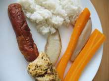Poultry Shashlik with Carrot and Pears in Steamer