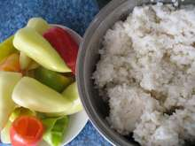 Preparation of rice and peppers