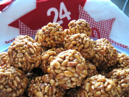 Burison (puffed rice) caramel balls