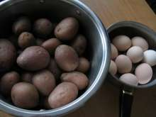 Preparation of potatoes and eggs