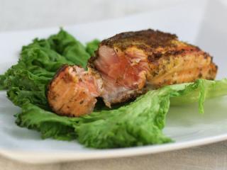 Salmon with herb-mustard glaze
