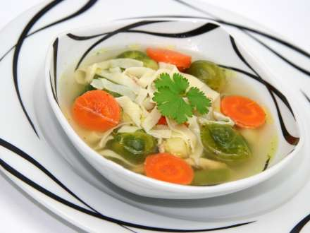 Chicken Soup with Brussels Sprouts and Homemade Noodles