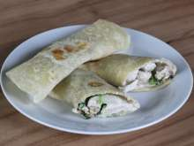 Homemade Tortillas Stuffed with Spinach Chicken Filling