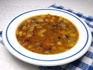 Oyster mushroom soup a la tripe soup