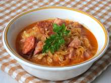 Farmer sauerkraut soup with barley groats