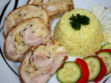 Chicken Roulade with Bread Rolls Filling