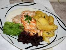 Chicken steaks with blue cheese sauce