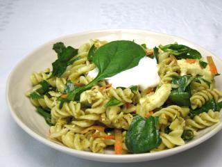 Spinach Salad with Pasta and Mozzarella