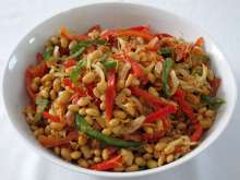 Soya bean salad with vegetables