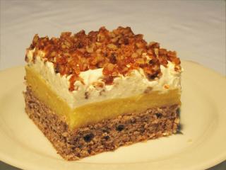 Orange dessert with caramel walnuts