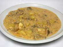 Creamy oyster mushroom sauce with potatoes