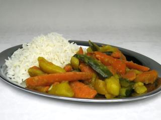 Vegetable sabzi with zucchini and basmati rice