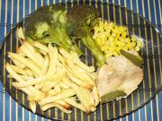 Turkey Breasts with Sweet Corn, French Fries, and Broccoli