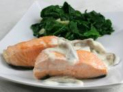 Salmon with oyster sauce and spinach