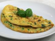 Omelette with peas, basil and feta cheese