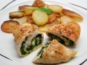 Chicken rolls stuffed with spinach