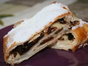Apple-cream cheese strudel with dried plums