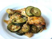 Chicken legs with onion and zucchini