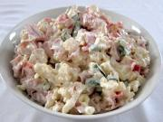 Cauliflower salad with sour cream and mayonnaise