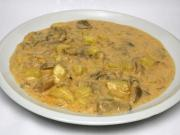 Creamy oyster mushroom sauce with potatoes