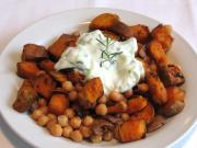 Sweet Potatoes and Chickpeas with Yogurt and Cucumber Dressing
