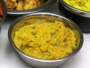 Side dish from red lentils and coconut milk
