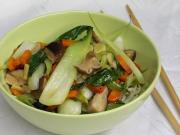 Cabbage pak choi with shiitake mushrooms